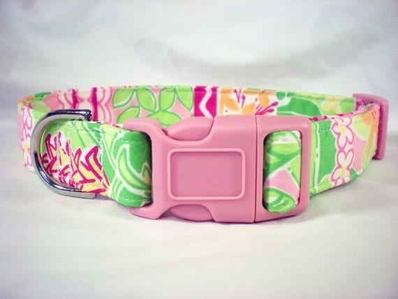 Custom Order for Catie- Key Fob Plus One Custom Dog Collar Lilly Pulitzer Pink Green Orange Flowers Fabric from PinkysPetGear on Etsy