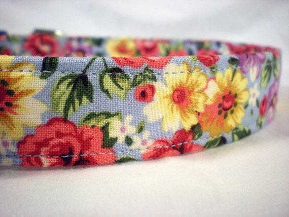 Blue Grey Red Flower Girl Dog Collar by Pinkys Pet Gear on Etsy