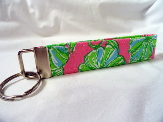 Lilly Pulitzer Pink Green Blue Rhino Fabric Key Fobs, KeyChains