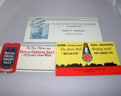 3 ink blotters Lumber Company, Royal Crystal Salt and Hartford Insurance