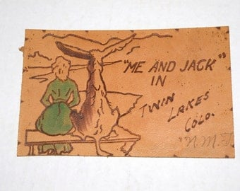 1907 LEATHER postcard Me and JaCK in TWIN LAKES