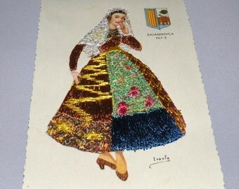 1952 Beautiful Lavishly Embroidered Post Card from Madrid Spain