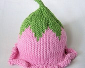 READY TO SHIP Flower Fairy Summer Hat, Knit Cotton Baby Hat great photo prop