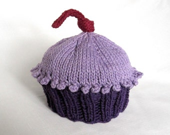 Cupcake Hat Purplicious, Knit Cotton Baby Hat, great photo prop
