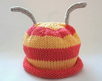 Whimsy Striped Bug Hat, Knit Cotton Baby Hat, Custom Order you choose colors