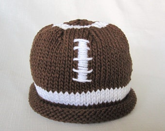 Football Hat, Knit Cotton Brown Baby Hat photo prop