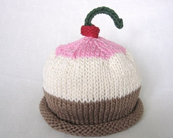 Neapolitan Ice Cream Hat, Knit Cotton Baby Hat great photo prop