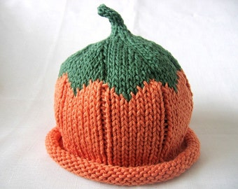 Pumpkin hat, Knit Orange Cotton Baby Hat, great photo prop