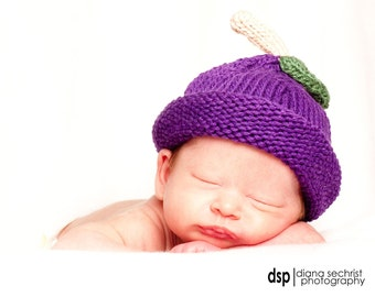 Plum Hat, Knit Cotton Fruit Baby Hat great photo prop