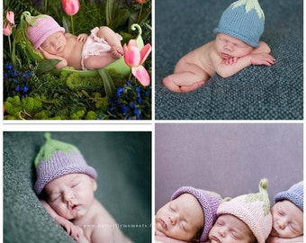 Berry Pixie Hat, Knit Cotton Baby Hat