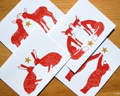Set of 4 Holiday Greeting Cards