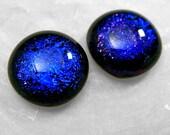 Blue Stud Earrings, Dichroic Fused Glass Earrings, Royal Blue Posts, True Blue Studs