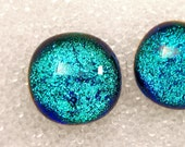 Dichroic Fused Glass Stud Earrings, Sparkling Tropical Blue Posts, Turquoise Studs, Teal Blue Stud, Turquoise Blue Studs, Nickle Free Studs