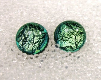 Dichroic Glass Studs in Sparkling Soft Celadon, Jade Green Fused Glass Post Earrings, Soft green Stud Earrings
