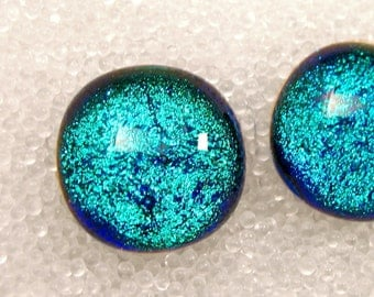 Dichroic Fused Glass Stud Earrings, Sparkling Tropical Blue Posts, Turquoise Studs, Teal Blue Stud, Trending Turquiose, Turquoise Blue Studs
