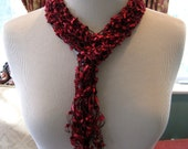 Red Knitted Ribbon Skinny Accessory Scarf CHOOSE COLOR