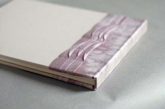 Sale - Violet and Dove Gray Guest Book in Pleated Silk