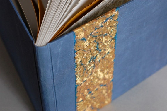 Sale - Guest Book in Blue Silk with Antique Gold Embroidery