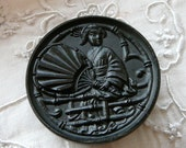 RESERVED for BARB WEEKS Large Antique 1870's Black Glass Button Victorian Geisha Girl