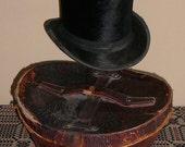 Top Hat Antique Black Silk Fur Vintage Mans Edwardian  with Leather Case