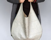 silver grey leather hobo bag