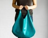 Turquoise  Leather Hobo Bag