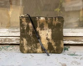 Grey with gold Leather Zipper Clutch Large 7 inch