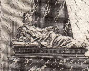 Antique Engraving of a Tomb