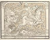 Deaths Horseman Gothic Medieval Art Print Macabre Memento Mori