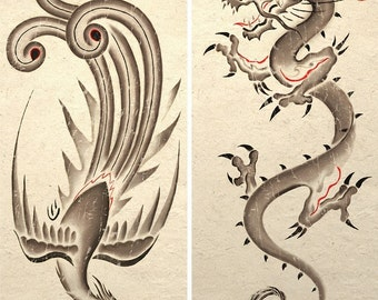 Sumie Asian Dragon and Phoenix Art Poster Prints