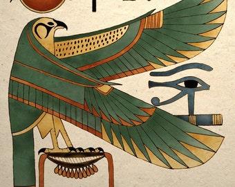 Ancient Egyptian Art Print Horus Falcon Wall Decor