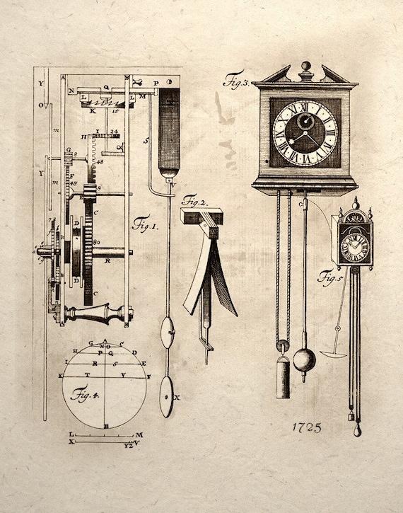 Steampunk Art Print Clock Mechanical Gear Patent Design