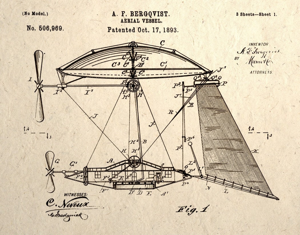 Aerial Vessel Airship Patent Drawing Steampunk Art Print Wall