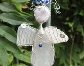 White Angel Sea Glass Ornament silver wire cobalt blue halo shoes and necklace
