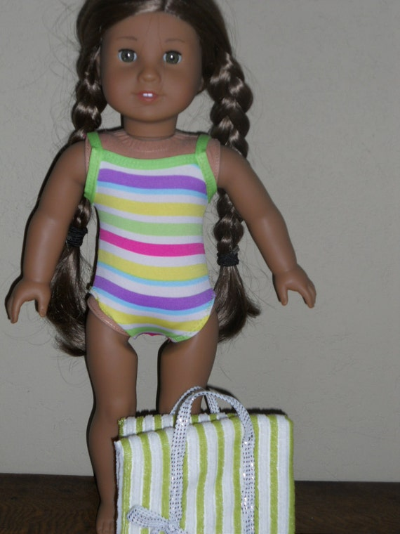 18 Inch American Girl Doll Clothes Striped Swimsuit Ready to Ship