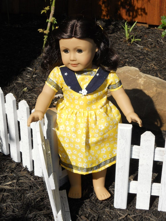 18 Inch American Girl Doll Clothes Sunshine and Stars Dress With Hair Clips Ready to Ship