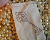 Ornate key- hand stamped muslin bag (5)