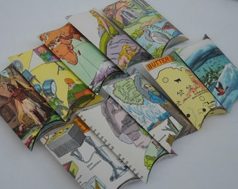 An Eco friendly wedding- vintage paper pillow boxes- set of 50