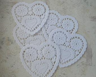 One dozen  petite heart shape paper doilies- 3 colors available
