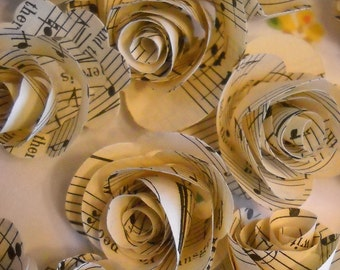 vintage music paper rosettes- set of 20