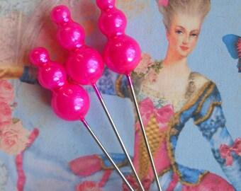 triple pearl Marie Antoinette straight pins --  hot  pink