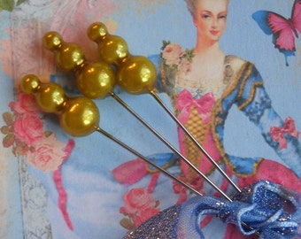 triple pearl Marie Antoinette straight pins --  antique gold