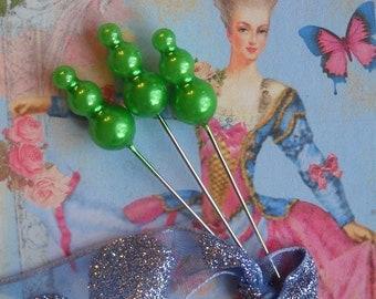 triple pearl Marie Antoinette straight pins --  bright green