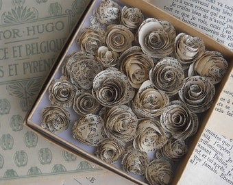 antique french paper rosettes-set of 25