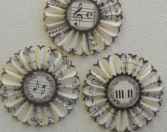 vintage music paper rosettes- Piano melody- set of 3