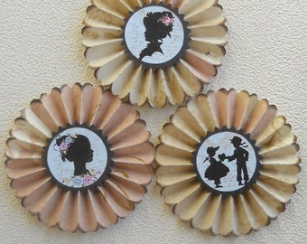 upcycled  wallpaper rosettes-  Silhouettes  - set of 3