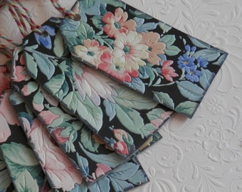 vintage wallpaper wedding hang tags - English Garden