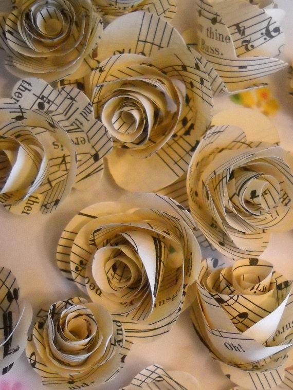 vintage music paper rosettes set of 20