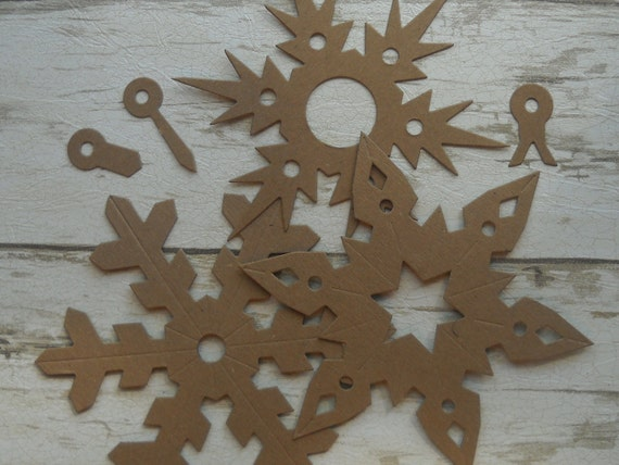 6 large snowflakes - chipboard