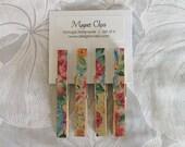 Magnet Clips w\/ Vintage Wallpaper Set of 4